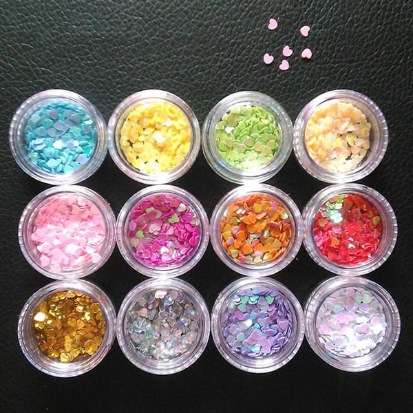 BRICOLAGE Nail Art Poudre Poudre En Forme de Coeur Brillant Nail Sequin Glitter 50g (Rose)