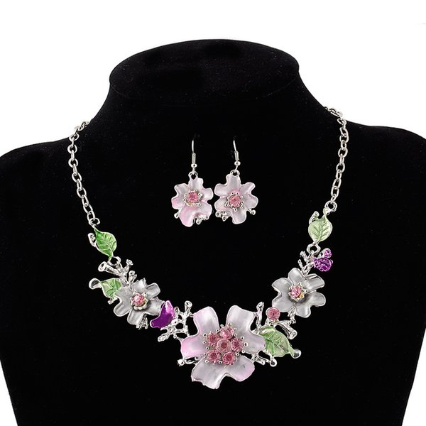 Silver Plated Crystal Flower Statement Necklace Earring For Women Party Wedding Jewelry Set