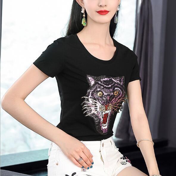 Марка Tide Европа и Америка высокого качества 2019 года мерсеризованный хлопок блесток вышивка тигровая голова футболка лето новый 68701