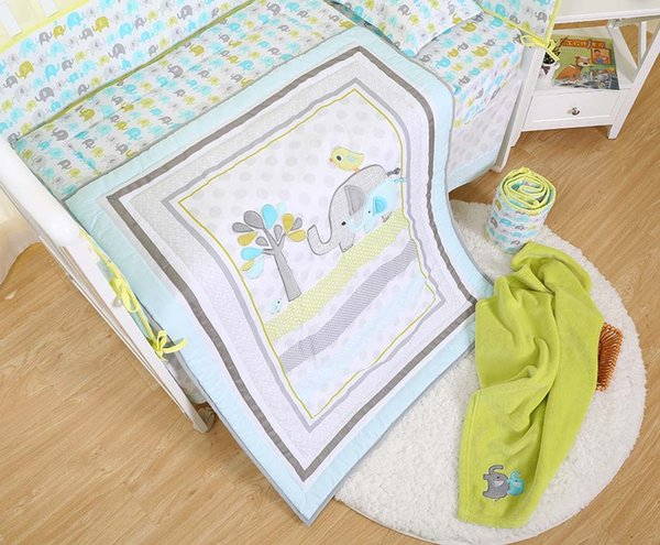 Hot Selling Baby bedding set 7Pcs Crib bedding set for Newborn cotton Cot bedding set Embroidery 3D elephant bird Quilt Bumper Skirt