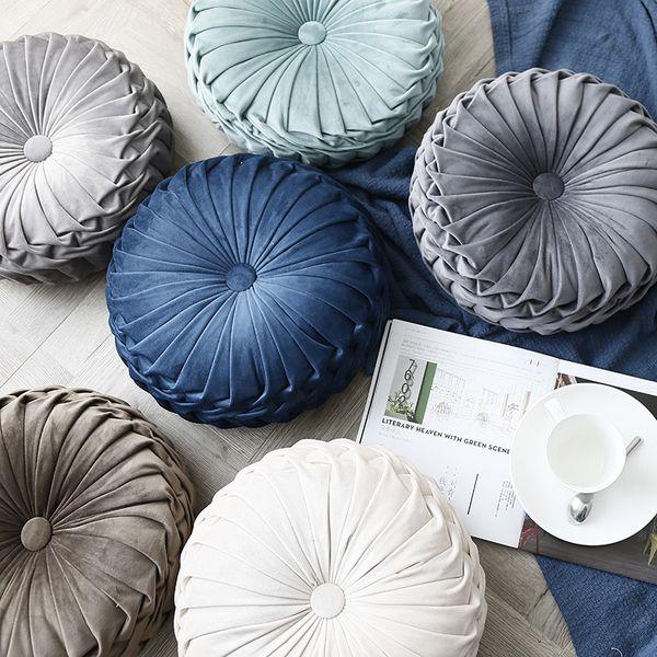 36*36*11cm European Style Round Seat Cushion Back Cushion or As Sofa Pillow Bed Pillow Velvet Fabric Home Sofa Pillow Decoration