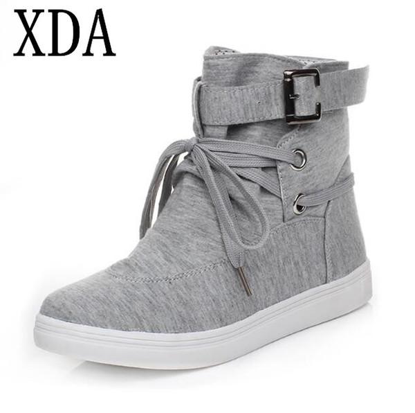 XDA 2018 novo estilo de moda botas casuais senhoras rodada cabeça Lace Up flats sapatos mulheres ankle boots frete grátis