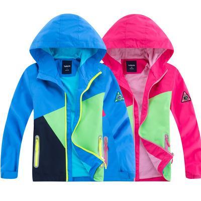 Spring Boys And Girls Raincoat veste extérieure zippée respirante et imperméable Manteau