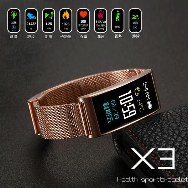 Smart Band Couleur Montres Femmes Santé Sport Bracelet Ip68 Étanche Smart Bracelet TPU Bracelet Bracelet PK X3 Montres Intelligentes
