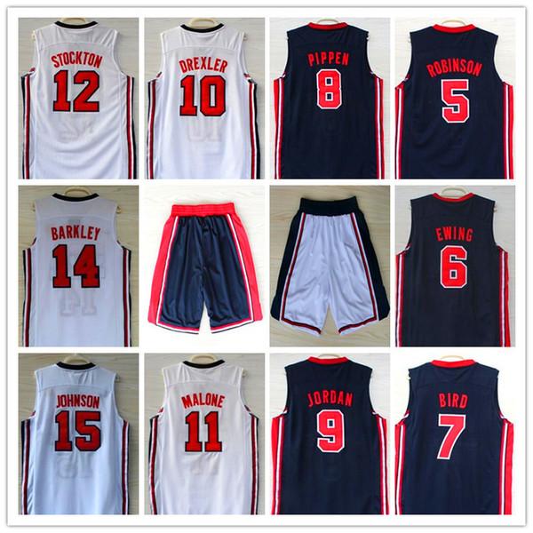 1992 Dream Team Jersey Robinson Ewing Bird Pippen Drexler Malone STOCKTON JOHNSON BARKELY Michael Sport Maglie da basket Pantaloncini indurenti CALDO