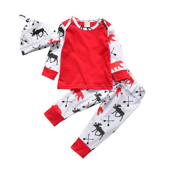 Christmas Pajamas Set Baby Toddler Boys Girls Clothes Set Sleeve T shirt + Pants + Hat 3PCS Kids Outfits Set Baby Clothes Children Clothing