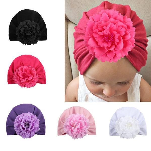 1Pc нового способа цветка Девочки Hat Новорожденный Упругие младенца Тюрбан шапки для девочек хлопка младенца Beanie
