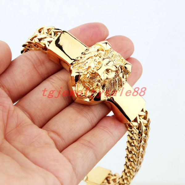 """High Quality Gold Figaro Rolo Chain With Stainless Steel Lion Head Bracelet Fashion Men's Cuff Jewelry 15mm*8.66"""" J190703"""
