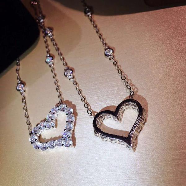 Роскошный Дизайнер S925 Стерлингового Серебра Полный Кристалл Полый Сердце Ожерел