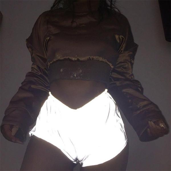 Новый стиль дамы случайные шорты ночные светоотражающие брюки женские шорты