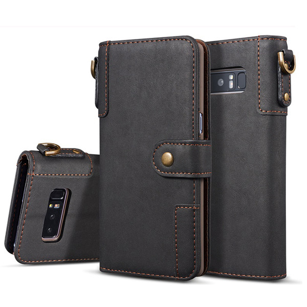 Leather Flip Wallet Cover for Samsung Galaxy Note 8 9 Case Luxury Card Holder Key Ring for Samsung S6 S7 Edge S8 S9 Plus Case