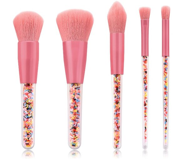 Newest 5pcs Candy Makeup brushes With Pink Make up Brush Powder BB Cream Foundation Cosmetic Tool Hiqh Quality Eyeline Profession DHL SHip