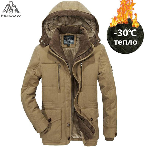 PEILOW Plus Size L~5XL 6XL Men Winter Fleece Warm Thick Jacket Men Outerwear Windproof Casual Coat With Hooded Mens Parkas Winter Jackets Brands Denim