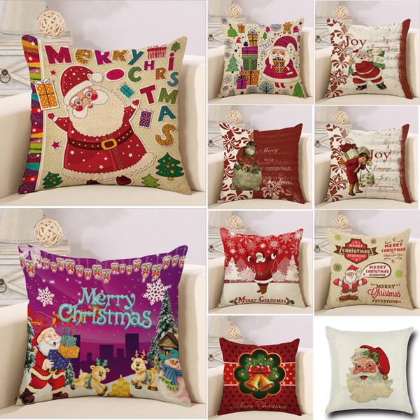 2018 más nuevo tiro Funda de almohada caliente de la Navidad de Santa algodón de lino de almohada Textiles para el hogar