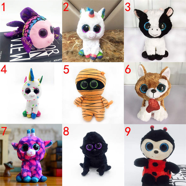 top popular 15cm Ty Beanie Boos Simulated Plush Toy with Land Animal Big Eye Doll Penguin Halloween Phantom Elk Dog Rabbit Sequins 2020