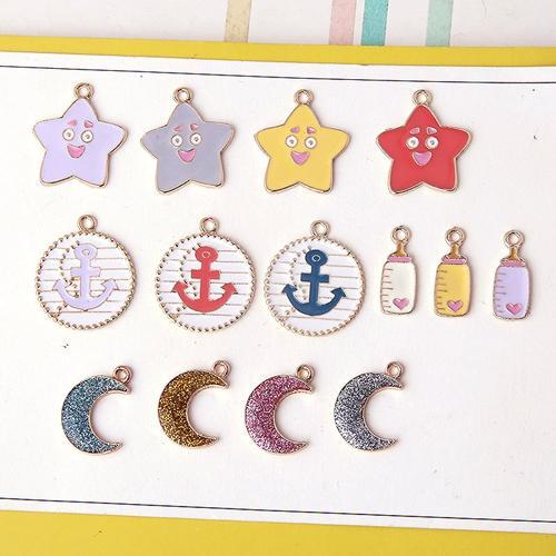 Enameled star moon anchor feeding bottle charm pendant , earring bracelet necklace charm , jewelry findings