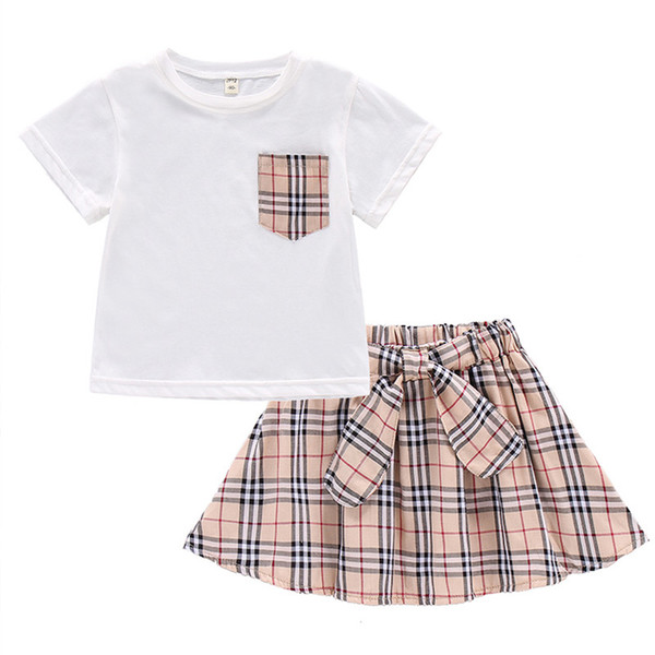 new Children's clothing baby girls t shirt + skirt new kids clothes set children tops skirt two-piece fashion summer