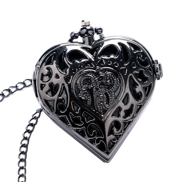 pocket watch Black Heart Shape Necklace for Ladies Women Girls Friend Quartz Pocket Watch Fashion Pendant Clock Chain Birthday Gift Watches