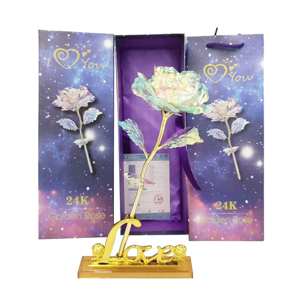 24K Gold Foil Rose Flower Without Box Valentine's Day Lover Gift Birthday Romantic Golden Rose Home Decor Festive Party Supplies