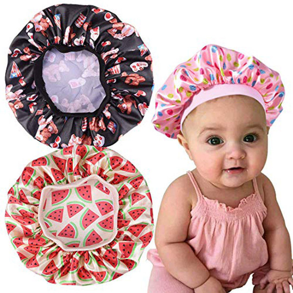 top popular Fashion Kids Floral Satin Bonnet Girl Satin Night Sleep Cap Hair Care Soft Cap Head Cover Wrap Beanies Skullies 6 Colors 2020