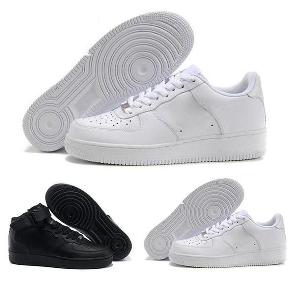 Acheter 2019 Nike Air Force One 1 Af1 Dunk Hommes Femmes Flyline Chaussures De Course, Sports De Skate Board Ones Chaussures High Low Cut Blanc Noir