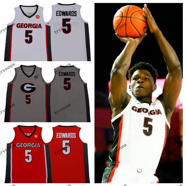 top popular 2020 NCAA Georgia Bulldogs Anthony Edwards College Basketball Jerseys #5 Anthony Edwards Stitched Shirts S-XXL Mens Red Grey 2020