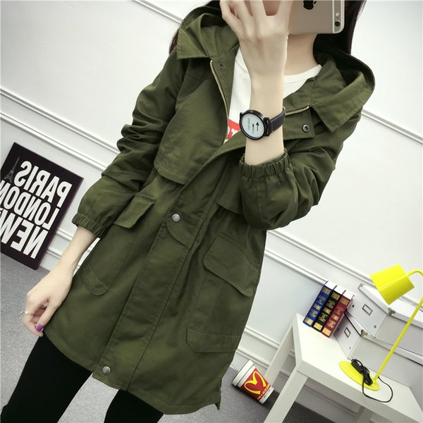 Windshirt jacket girl middle and long style spring 2019 student Korean version autumn harvest waist show thin army green women
