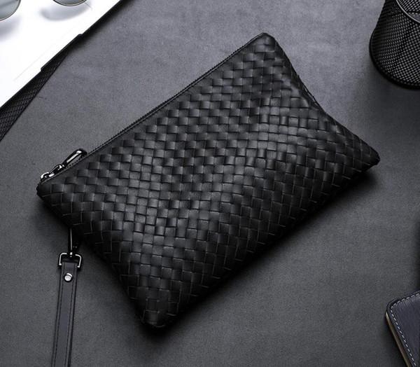 Männer Rindsleder Handarbeit häkeln Clutch Taschen Business Totes Mode Luxus weichem Leder Haringndbags Marke Männer Taschen neuen Stil