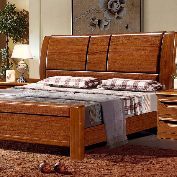 Solid wood bed gold silk walnut economical Chinese style simple modern direct sales box frame master bedroom 1.8 meters double wooden bed