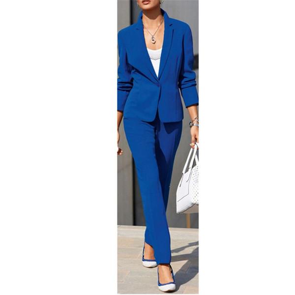 Fashion women suit blue of FINALISTS. Lady business suit formal office suit custom jacket + pants
