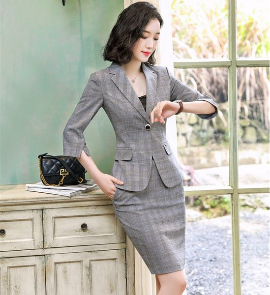 Fashion Grey Blazer Women Business Suits with Skirt and Jacket Sets Half Sleeve Office Ladies Work Wear Clothes