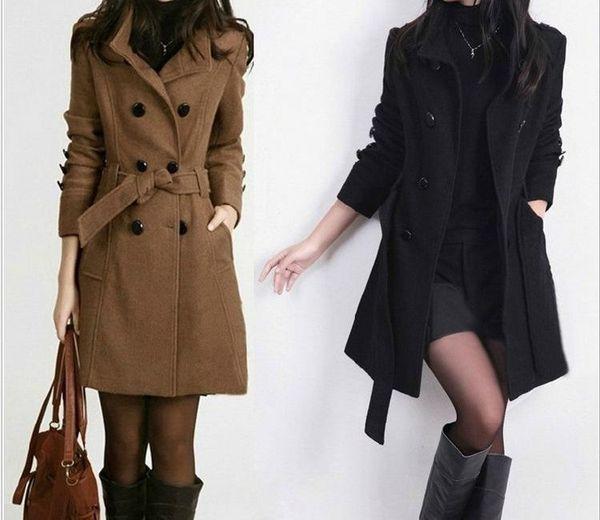 order online lowest discount new high 2019 Adjustable Waist Wool Blend Ladies Coat Casual Women S ...