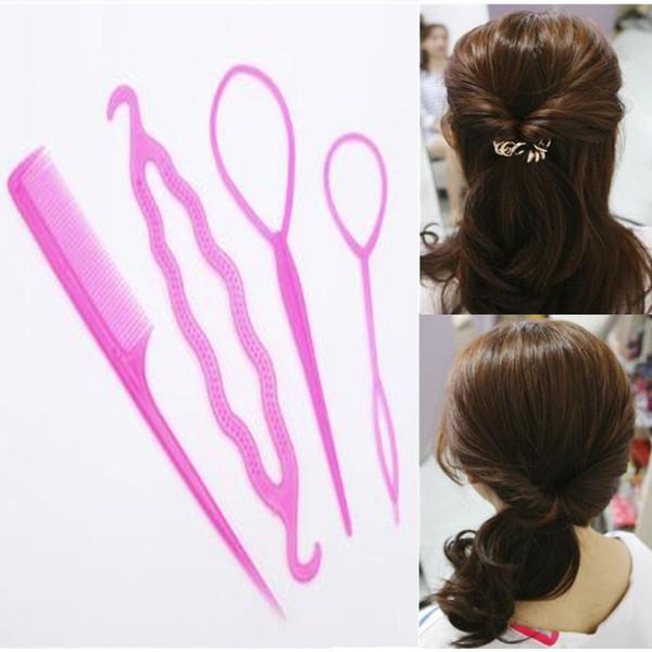 Moda 4 unids / set Mujeres Niñas Fast Easy Magic Bun Princesa Peinado Popular Artifact Hair Tool
