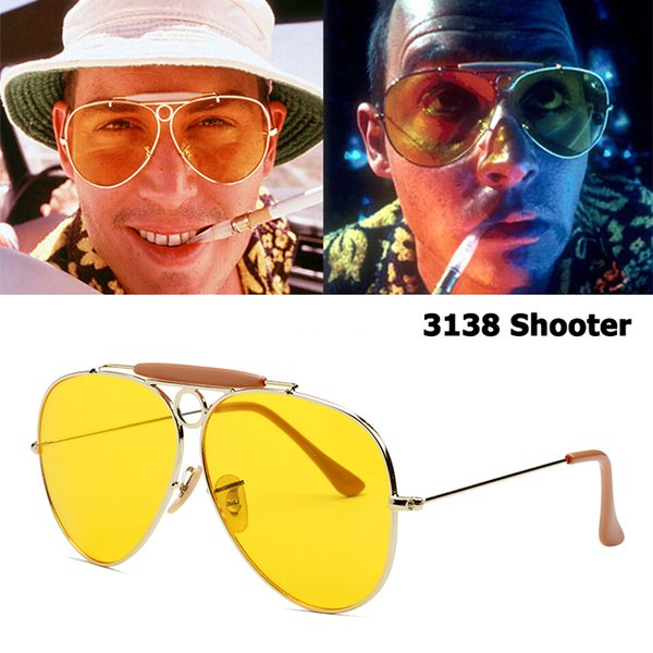 Jackjad New Fashion 3138 Shooter Style Vintage Aviation Sunglasses Metal Circle Brand Design Sun Glasses Oculos De Sol With Hood C19041001