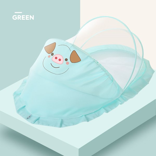 China100 * 55 * 41cm populäres buntes nettes Schwein-bewegliches zusammenklappbares Säuglingsbettnetz knallt Moskitonetz für Babykrippe Freies Verschiffen