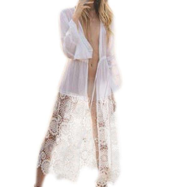 Mujeres Casual Patchwork de manga larga de encaje Cardigan Outwear Cover Up Blusa blanca Ropa de protección solar Envío #Zero