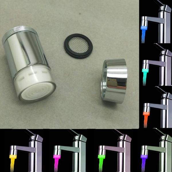 top popular LED faucet temperature sensor kitchen LED Light Water faucets Tap Heads RGB Glow Shower Stream bathroom 3 Color Change Drop ship 2021
