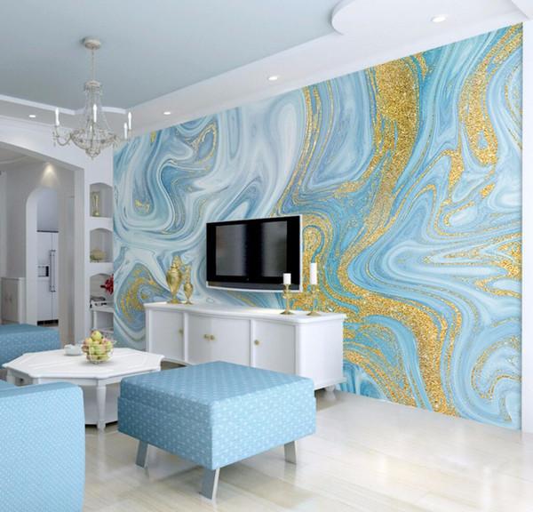 Großhandel Bacaz Luxus Gold Blau Textur Marmor Tapete 3d Fototapete ...