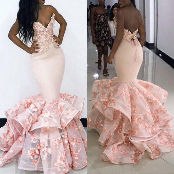 Sirena rosada Vestidos de baile Hecho a mano Flores florales tridimensionales Ocasiones nocturnas Vestir Vestidos sudafricanos con volantes en capas BA9645