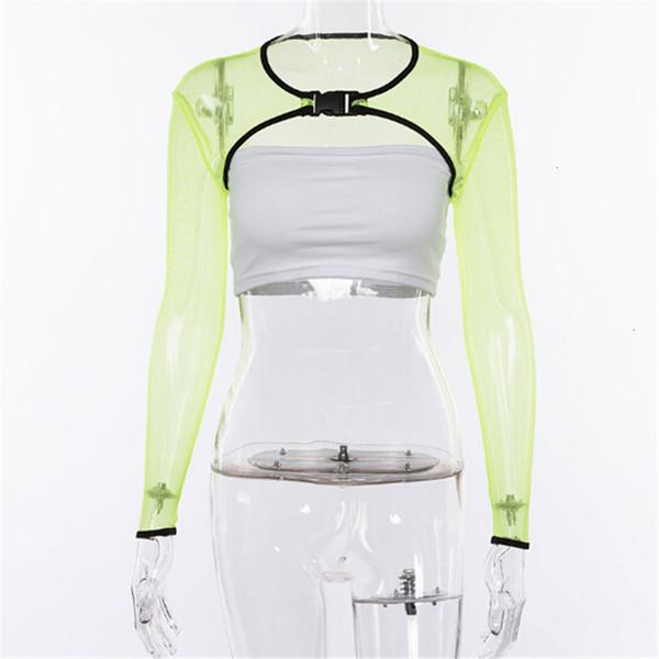 Débardeurs Femmes Tops Mesh Femmes Crop Sheer Résille évider Top solide réservoir de couleur vert Vêtements floraux Taille Grand