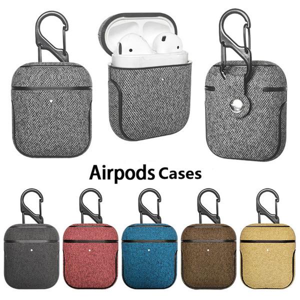 PU Bez Kablosuz Bluetooth Saklama Kutusu Kılıfları Apple AirPods Koruyucu Kulaklık Kılıf Kapak Ile Kanca Darbeye Retro Kulakiçi Çanta