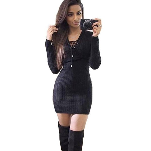 Winter Dresses For Womens Long Sleeve Party-Dress Knitted Hollow Out Sexy Women Clothes With Bandage Bodycon Club Pencil Casual Dress
