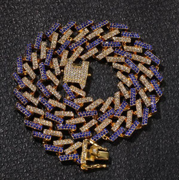 Die neueste hochwertige kubanische Kette 15mm Micro-Intarsien Farbe Zirkon Streifen Herren Halskette Hip Hop Modeschmuck Großhandel