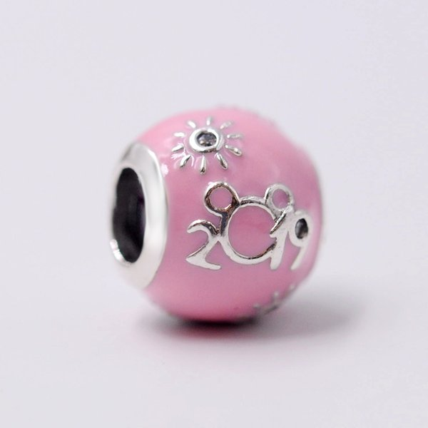2019 Release Dis Fantasyland Castle ''2019 Edition'' Charm With Pink Enamel and Clear CZ Charm Fits pandora Jewelry DIY Bracelets Necklaces