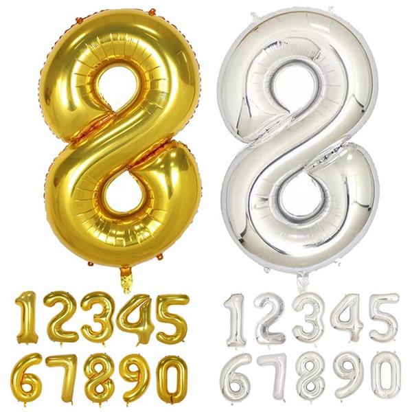 Allons Accessori Hoomall 16inch Numero Balloons argento / oro / colore rosa Foil Air Balloon Lattice decorazione di cerimonia nuziale partito di buon compleanno ...