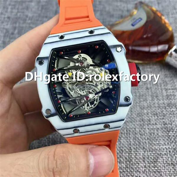 Hot Vente de luxe 27-02 Montre antimagnétique Antichoc automatique saphir Skeleton Cadran en fibre de carbone de cas en caoutchouc bracelet Mens Watch
