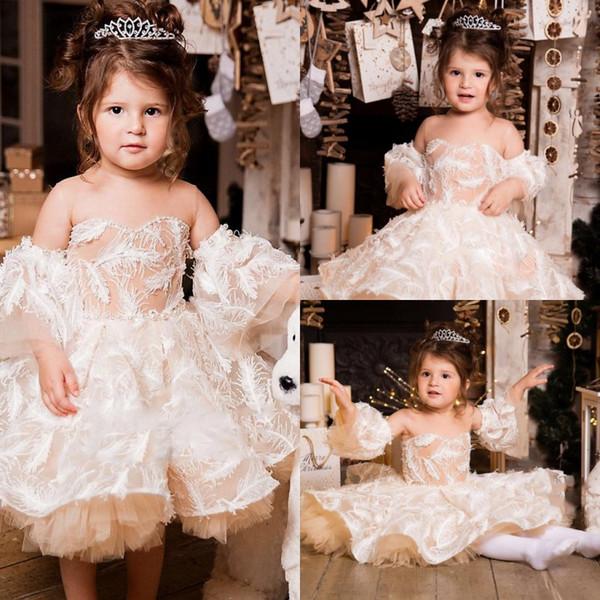 Belle Fleur Filles Robes Cou Cou En Mignon Mignon Dentelle Robes De Célébrités Amovible Manches Courtes Anniversaire Fille Communion Pageant Robe