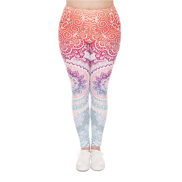 DeanFire Plus Size Stretch Leggings AZTEC ROUND OMBRE Print Fitness Legging Sexy Silm legins High Waist Trouser Women Pants