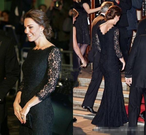 Kate Middleton Jenny Packham Mermaid Dresses Evening Wear Full Lace Long Sleeves Prom Dress Low Back Celebrity Red Carpet Gowns Floor Length