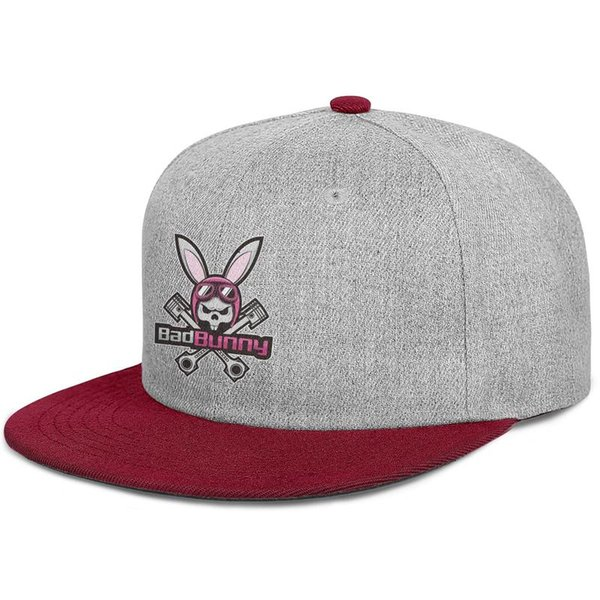 Bad Bunny Bunny burgundy mens and women snap back,flat brimcap ball cool fitted sports running hats